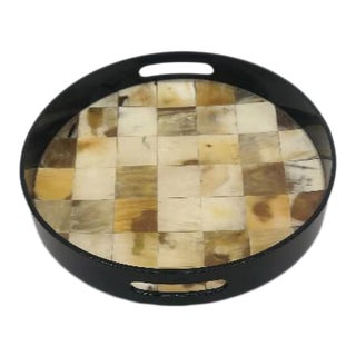 Faux Bone and Shell Painted Bar Tray For Sale