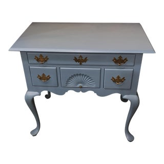 Queen Anne Lowboy With Blue Painted Finish.