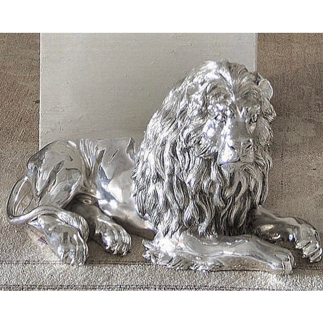 Silver Italian Sterling Silver Lion Sculpture For Sale - Image 8 of 8
