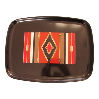Late 20th Century Couroc Native American Tapestry Inspired Tray For Sale