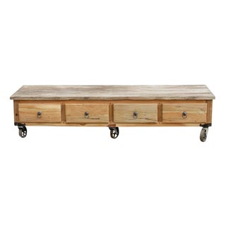 Rustic Industrial Low Console Table For Sale
