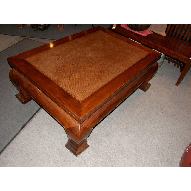 Mid 19th Century 19th Century Chinese Chow Leg Coffee Table with Woven Mat Top For Sale - Image 5 of 8