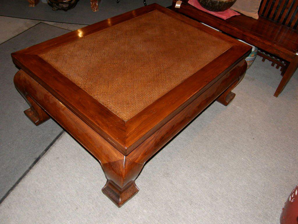 19th Century Chinese Chow Leg Coffee Table With Woven Mat Top   Image 5 Of 8