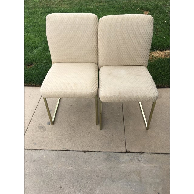 Milo Baughman-Style Brass Dining Chairs - Pair - Image 2 of 6