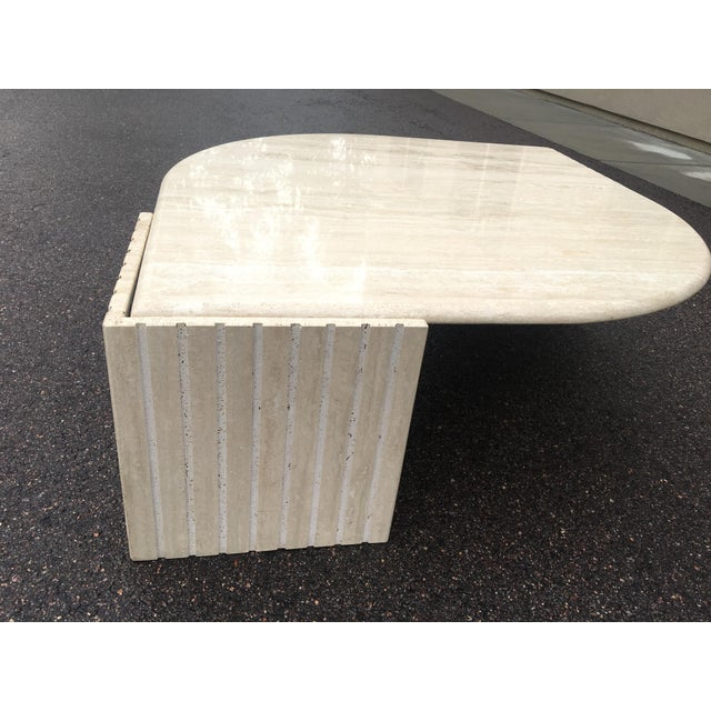 1980's Brutalist Travertine Marble Coffee Table For Sale - Image 6 of 12
