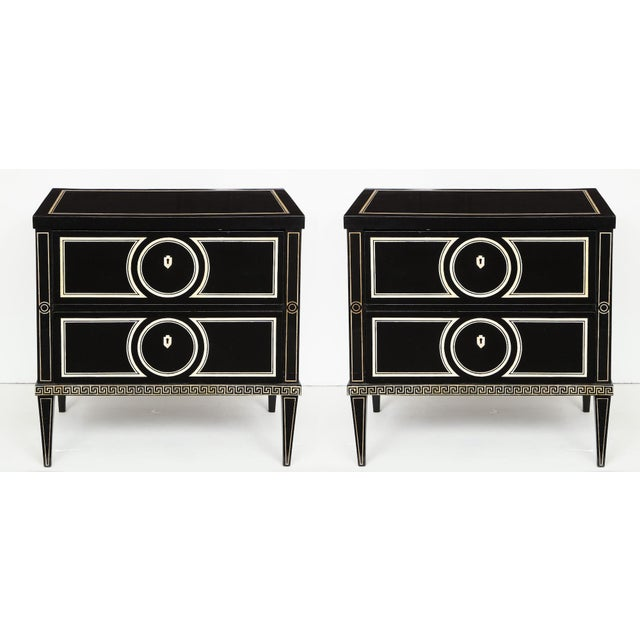 Pair of Custom Neoclassic Hand-Painted Commodes For Sale - Image 12 of 12