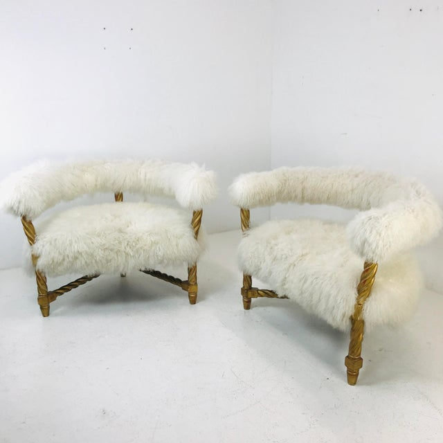 Pair Mongolian Lamb Chairs For Sale - Image 4 of 6