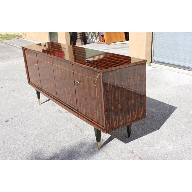 1940s French Art Deco Macassar Ebony Sideboard/Buffet For Sale - Image 11 of 13