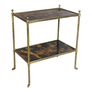 Antique Edwardian Style Black Lacquer and Brass Table For Sale