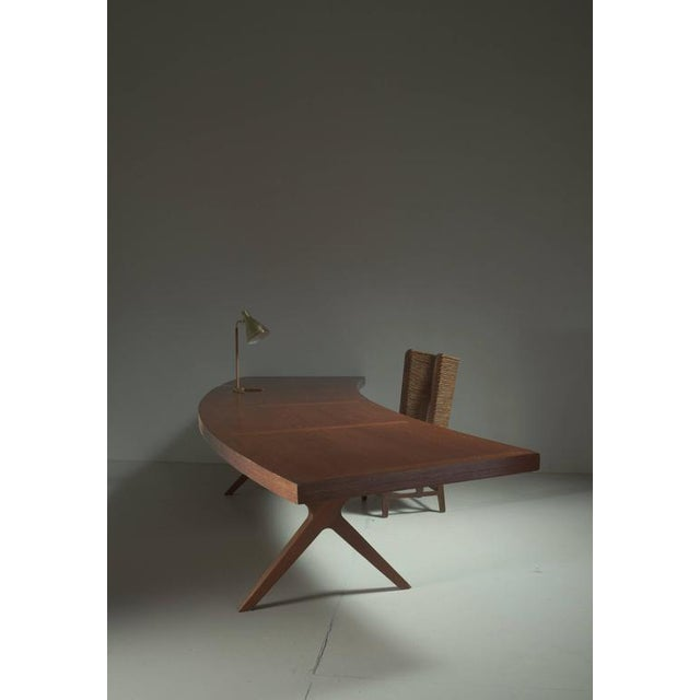 1960s L.E Brevilly Extremely Large Boomerang Shaped Desk, France, circa 1965 For Sale - Image 5 of 6