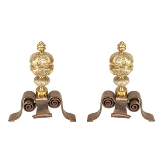Neo-Classic Large Brass Andirons For Sale