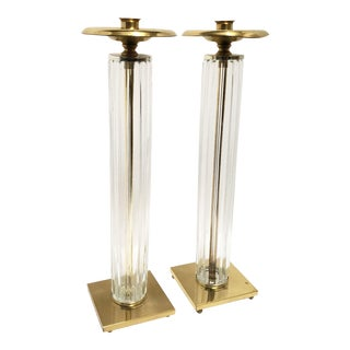 Art Deco French Brass & Glass Candlestick Holders - a Pair For Sale