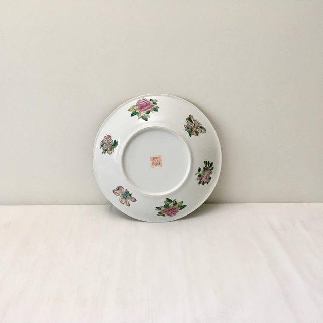 Ceramic Large Vintage Rose Medallion Bowl For Sale - Image 7 of 10