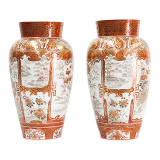 Late 19th Century Japanese Kutani Vases-a Pair For Sale