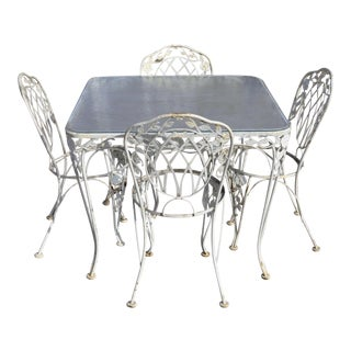 Vintage Art Nouveau Lyon-Shaw Windflower Lattice Woodard Style Wrought Iron Garden Dining Set - 5 Pieces For Sale