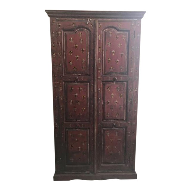 1990s Red Indian Cabinet For Sale