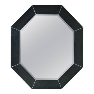 Large Octagonal Mirror in Custom Black Finish For Sale