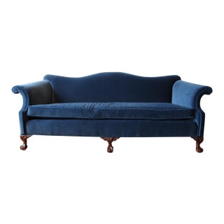 Vintage Navy Velvet Chippendale Sofa For Sale