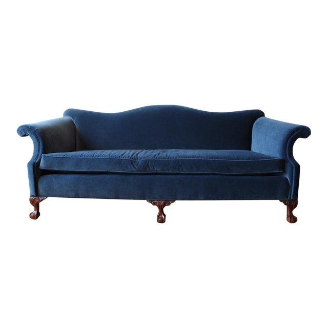 Vintage Navy Velvet Chippendale Sofa For Sale