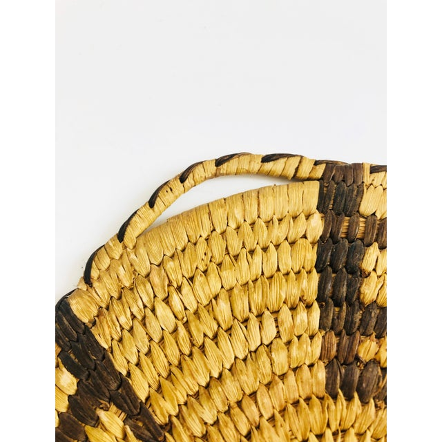 Early 20th Century Vintage Native American Tohono O'Odham Two Tone Wall Coil Basket Wall Hanging For Sale - Image 5 of 6