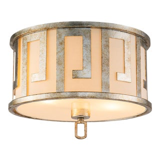Flora 2 Light Pendant - Semi Flush, Medium, Distressed Silver For Sale
