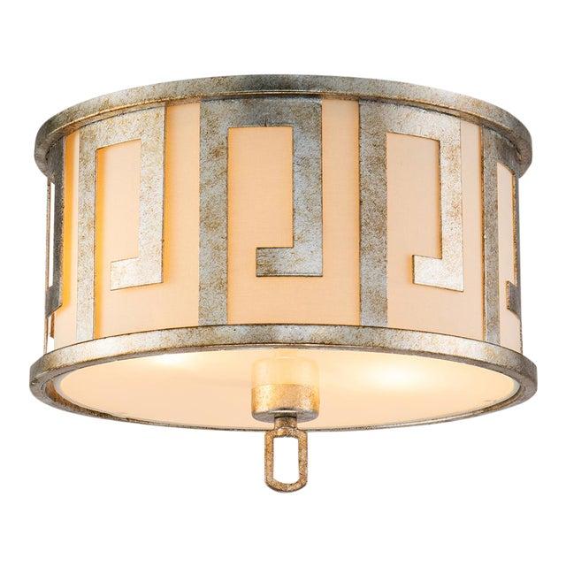 Flora 2 Light Pendant - Semi Flush, Medium, Distressed Silver For Sale