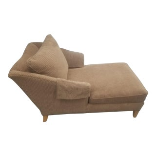 Ethan Allen Brown Tweed Chaise For Sale