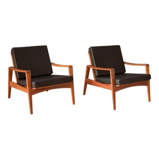 Vintage Danish Komfort Teak Lounge Chairs by Arne Wahl Iversen- A Pair For Sale