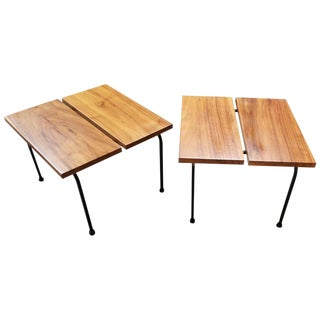 Ficks Reed Steel and Wood End Tables For Sale
