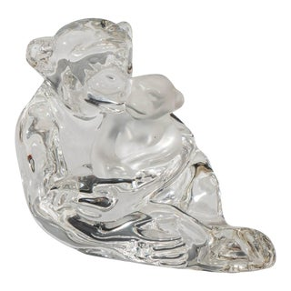 Saint-Louis Crystal Figure of Chimpanzee Mother and Baby For Sale