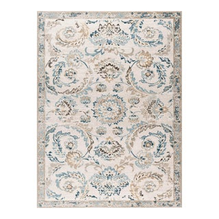 Peyton Shaina Transitional Floral Cream Rectangle Area Rug - 5' x 8' For Sale