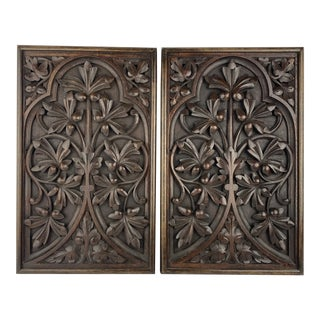 English Carved Panels, Pair For Sale