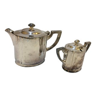 Gunther Lambert Silverplate Coffee Urn & Sugar Bowl - Set of 2 For Sale