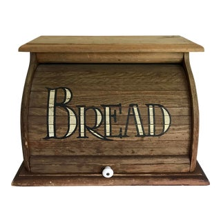 Antique Wooden Rolling-Top Bread Box For Sale