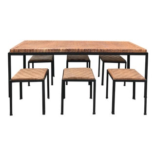 Danny Ho Fong Iron and Reed Dining Table With Six Stools for Tropi-Cal For Sale