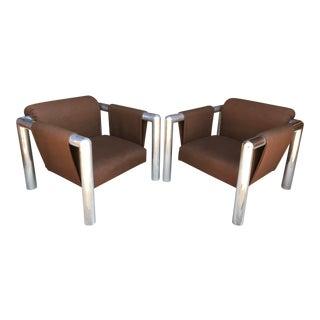 John Mascheroni Aluminum Sling Lounge Chairs - A Pair For Sale