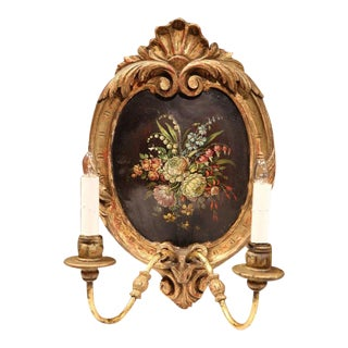 19th Century French Oval Hand-Painted Floral Gilt Sconces - a Pair For Sale