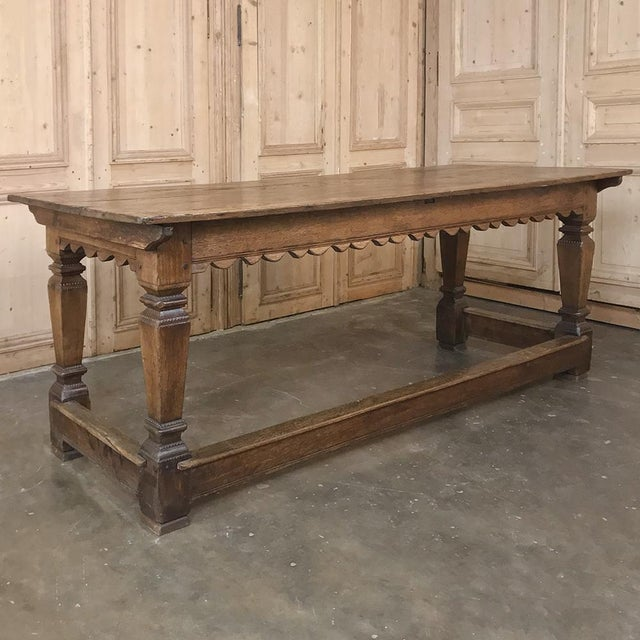 19th Century Rustic Oak Desk ~ Farm Table For Sale - Image 4 of 13