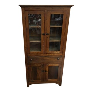 Antique Hand Carved Display Cabinet For Sale
