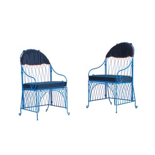 Newly Upholstered Vintage Italian Style Painted Folding Metal Chairs- a Pair For Sale