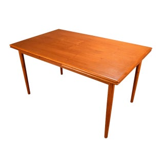 1950s Mid Century Modern Teak Dining Table With Leaves For Sale