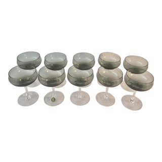 Mid Century Sasaki Crystal Champagne Coupes - Set of 9 For Sale