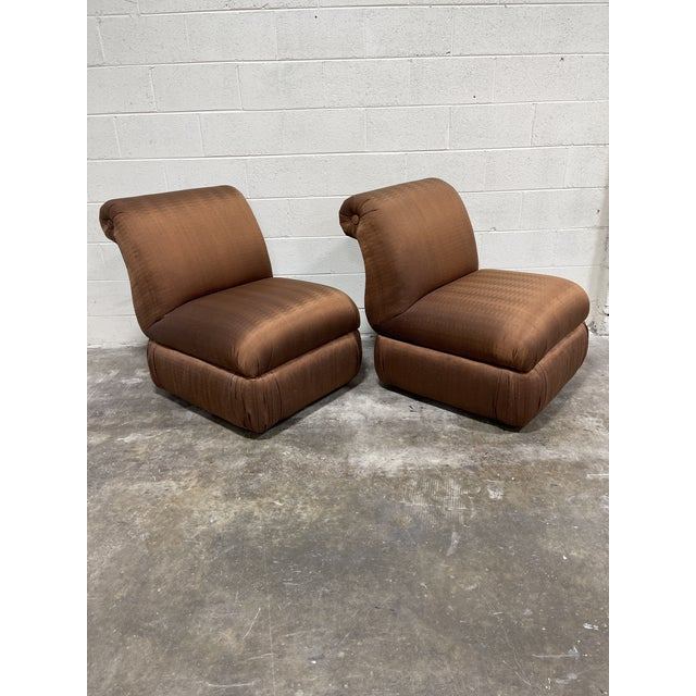 Copper Silk Shantung Rolled Back Slipper Chairs-A Pair For Sale - Image 12 of 12