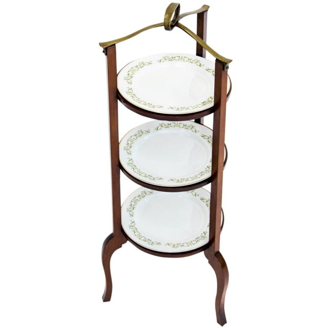 3-Tier Serving Stand W Brass Handle For Sale - Image 11 of 11