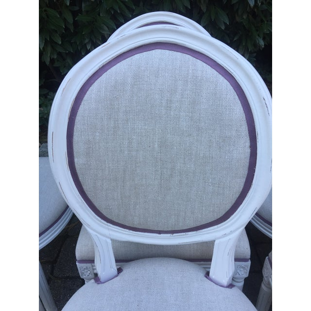 Modern Custom-Upholstered Louis-Style Round Dining Side Chairs- Set of 8 For Sale - Image 10 of 11