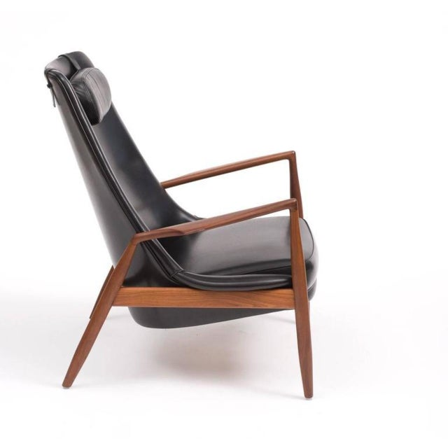 Ib Kofod-Larsen High Back Seal Chair in Teak and Black Leather for OPE, 1960s - Image 5 of 10