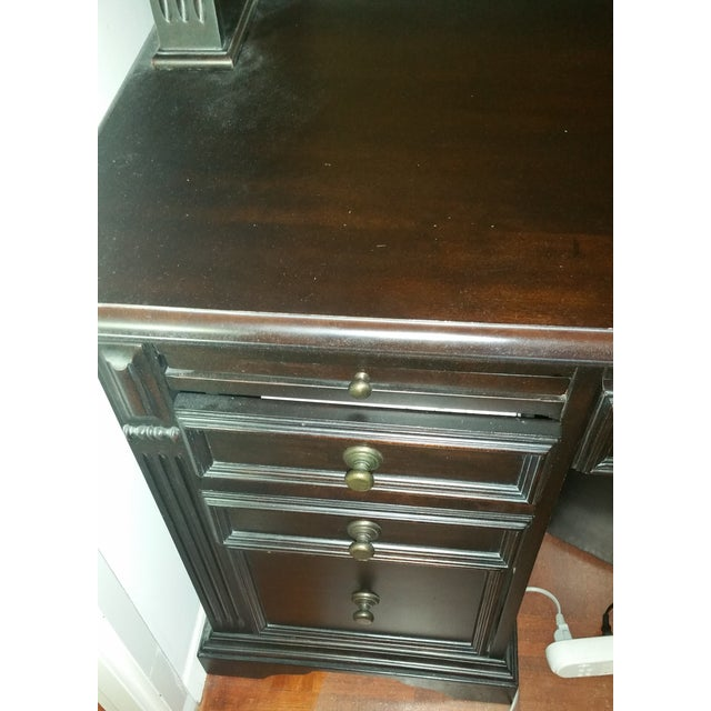 Solid Wood Dark Brown Desk with Hutch by Pulaski - Image 3 of 4