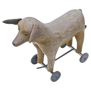 Vintage French Felt Dog Pull Toy For Sale