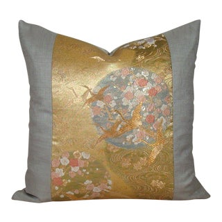 """Cranes in Flight"" Vintage Japanese Gold Metallic and Silk Obi Pillow Cover For Sale"