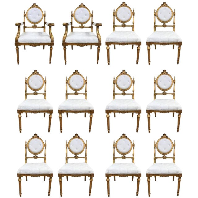12 French Giltwood Neoclassical Style Dining Chairs For Sale